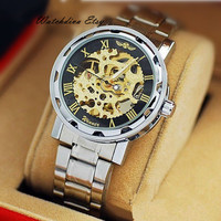 Mens Watch - Steampunk Mechanical Men Watch - Men Skeleton Watch - Stainless steel Watch for Men - Men Mechanical Watch