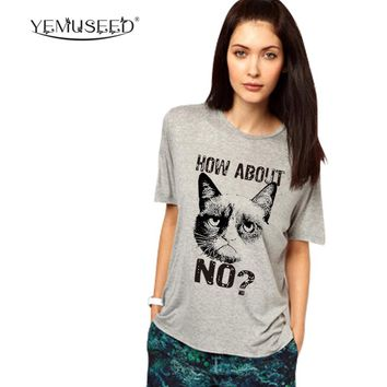 H678 2016 Casual Summer Harajuku Women T Shirt Grumpy Cat How About No? Printed Funny Sexy Gray T-shirt Plus Szie