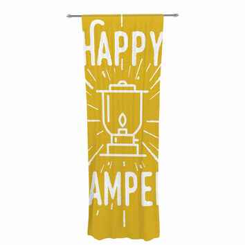 "Jackie Rose ""Happy Camper"" Yellow Typography Decorative Sheer Curtain"