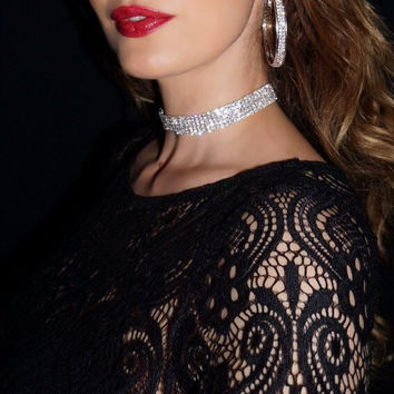 Crystal Choker with 7 Rows of Sparkly Glass Crystals. Silver Plated. Sexy Fashionable Choker. Bridal Choker. Trendy Celebrity Necklace.