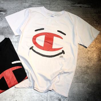 Champion summer men's champion T-shirt, round neck sleeve, cotton, large C print, loose sleeves for lovers