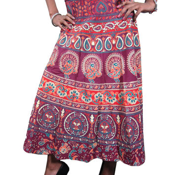 Indian Wrap Skirt Red Printed Wrap Around Womens Cotton Long Boho Skirts