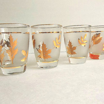 Vintage set FOUR Libbey Golden Foliage Gold Leaves Leaf frosted band tumblers glasses, juice, on the rocks low ball Mid Century barware