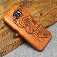 Skull Flowers: Hard Wood Designer Case For Samsung Galaxy S5 S6 S7 S8 Edge Plus Note 3 4 5 8 100% Natural Wood Case Cover For iPhone 5 5S 6 6S 7 8 Plus X