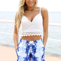 White Sleeveless V-Neck Crop Top with Lace Hemline