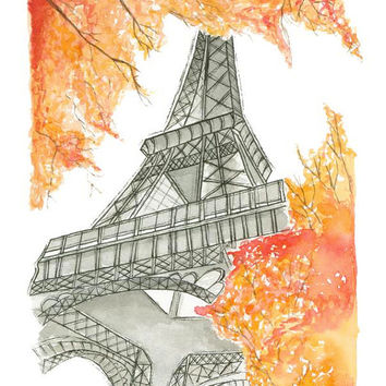 Fall in Paris - Print from original watercolor and pen illustration by Lexi Rajkowski, Home Decor, Paris, Fall, Eiffel Tower, Art, Art Print