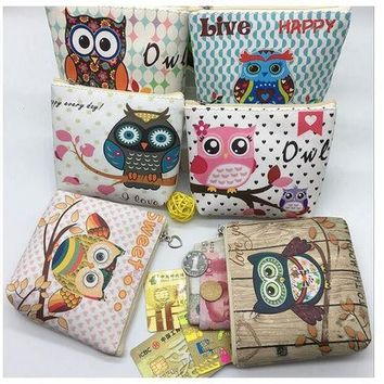 CREYONJ The new 2017 European and American wind cartoon owl wallet Han edition boutique children's PU zero wallet to receive package