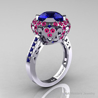 Modern Edwardian 10K White Gold Blue and Pink Sapphire Engagement Ring Wedding Ring Y404-10KWGPSBS