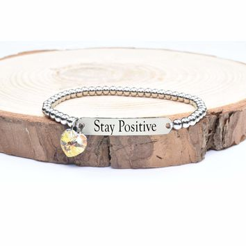 Beaded Inspirational Bracelet With Crystals From Swarovski By Pink Box - Stay Positive