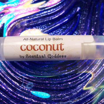 COCONUT LIP BALM - Super Moisturizing Coconut Flavor All-Natural Not Sticky Handmade with Shea Butter & Coconut Oil Chapstick
