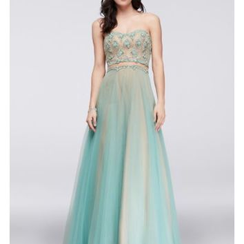 Gem-Encrusted Tulle Dress with Illusion Inset - Davids Bridal
