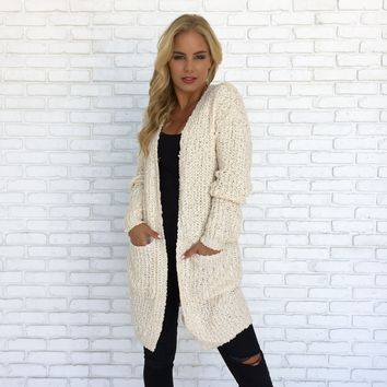 Dancing in the Rain Knit Cardigan in Cream