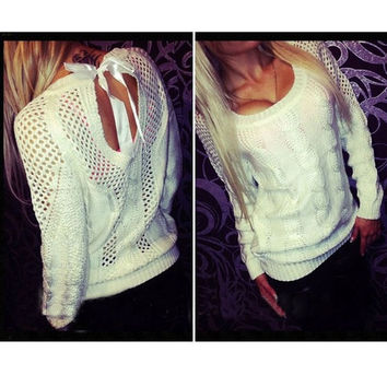Fashion Sweater Pierced Lace Back Casual
