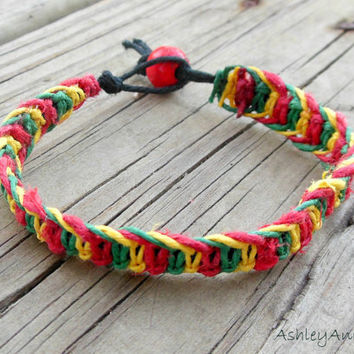 15% off CIJ SALE Rasta Hemp Macrame Bracelet For Men and For Women Red Yellow Green