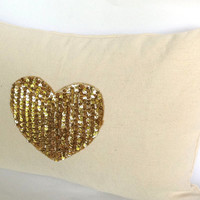 SP001 Cotton heart pillow cover with sequin heart in the middle- 12x20 inches throw pillows-valentine gift