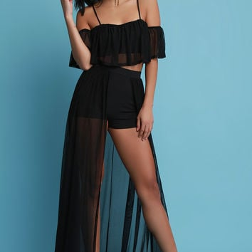 High Waisted Mesh Open Front Shorts Maxi Skirt | UrbanOG