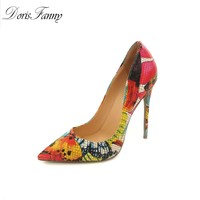 Printed Genuine leather pumps 2017 sexy party dress shoes Multicolor 34-45 Pointed Toe stiletto shoes woman DORISFANNY