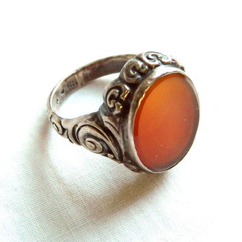 Vintage Antique 835 Silver Carnelian Ring Size 8.75