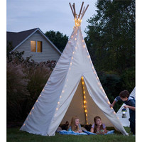 Canvas Kids Adult Tent Playhouse TeePee Ground Cover & LED Lighting