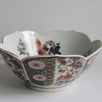 Oriental Porcelain Japanese Lotus Petal Bowl Chrysanthemum, Asian Chinoiserie Ilmari Kutani Syle Ceramic Dish, Made in Japan