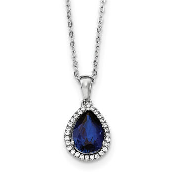 Sterling Silver Rhodium Created Sapphire & CZ Necklace QG4069SEP
