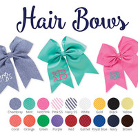 Personalized Hair Bows, Monogrammed hair bows, Girls Hair Bows- Hair Accessories
