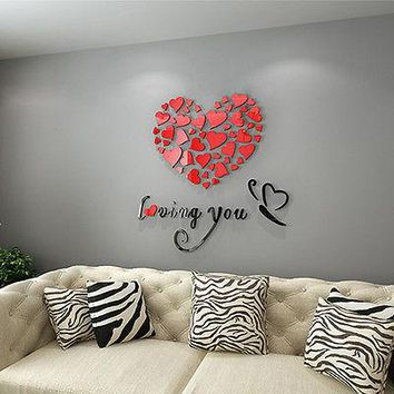 2016 New Lovely Mirror Hearts Home 3D Wall Stickers Decor DIY Decal Removable