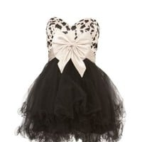 New Look Mobile | Forever Unique Monochrome Strapless Bow Short Prom Dress