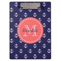 Navy and Coral Anchors Custom Monogram