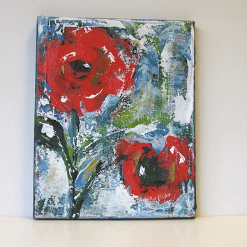SALE Floral Still Life, Red Acrylic Abstract Flower Painting, Original Art on Canvas