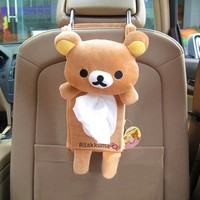 Cute Soft Plush Bear Rilakkuma San-x Tissue Box Cover Car Accessories Home Decor