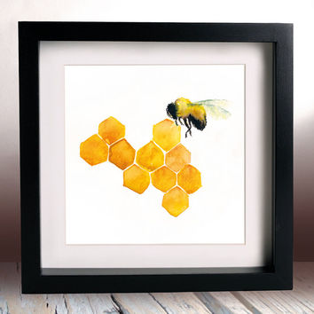 Honey Bee Watercolour Painting 6x6 Inches Kitchen Art Cafe Decor Honeycomb
