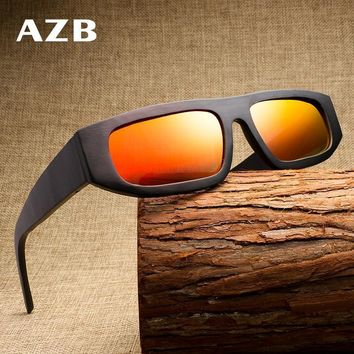 AZB 2018 new European and American personality wooden sunglasses men's coated polarized square