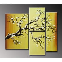 Hand-painted 'Plum Blossom' Oil on Canvas 4-piece Art Set | Overstock.com