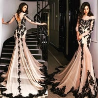 Mermaid Long Prom Dresses 2017 Abendkleider Champagne Evening Gowns With Long Sleeve Appliqued robe de soiree vestido de festa