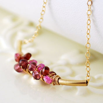 NEW Gemstone Necklace, Genuine Garnet Rhodolite Pink Sapphire Stone Cluster, Wire Wrapped Gold Jewelry Free Shipping