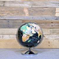 Vintage Globe, 1940s, Black Globe, 12 Inch Peerless Weber Costello CO, Antique World Globe