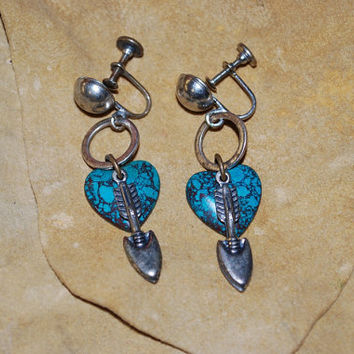 Vintage 1950's Southwest Design Turquoise Stone Heart and Arrow Dangle Earrings