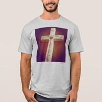 Bright colorful light cross guys shirt