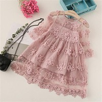 Summer Girl Clothes Kids Dresses For Girls Lace Flower Dress Baby Girl Party Wedding Dress Children Girl Princess Dress