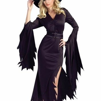 ONETOW Autumn Halloween Costume 2 Pcs Women Clothes Set All Black Gothic Witch 2016 Fancy Dress with Headwear  Adult Cosplay LC8983
