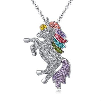 New Paragraph Unicorn Pendant Children's Day Color Pony Necklace 925 Silver Jewelry