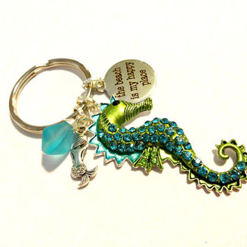 Coastal Chic Keychain, Seahorse Pendant Key Chain, The Beach is My Happy Place Rhinestone Key Ring, Aqua Blue Sea Glass Pendant Key Chain