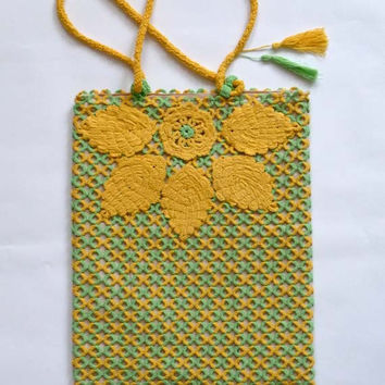 "OOAK Bag - Tatting bag ""Autumn"" - Gift for her - yellow-green bag - handmade bag - gift for wife -"