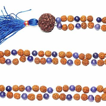 Chakra Buddhist Prayer Beads Malabeads Lapiz Lazuli Rudraksha Necklace 108 Yoga Jewelry