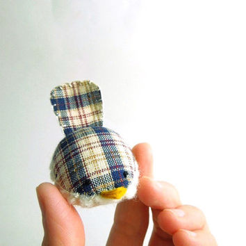 Handmade Decorative Wren in Navy Plaid by SeaPinks on Etsy