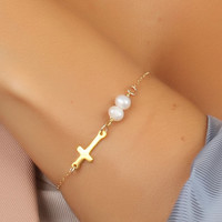 "Sideways cross bracelet, Pearl bracelet, gold cross necklace, 14k gold filled, white pearl bracelet, bridesmaid bracelet, wedding, ""Kastalia"