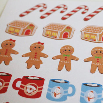 24 Holiday Treats Life Planner Stickers Scrapbook Stickers Holiday Stickers Christmas Stickers Gingerbread Man Christmas Cookies