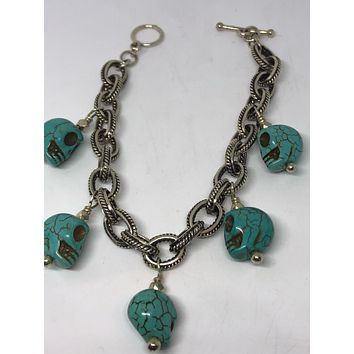 Vintage Victorian 925 Sterling Silver Filigree Recomposed Carved Skull Turquoise Statement Bracelet