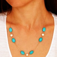 Stylish Shiny Jewelry Gift New Arrival Bohemia Vintage Turquoise Pearls Necklace [7298074887]